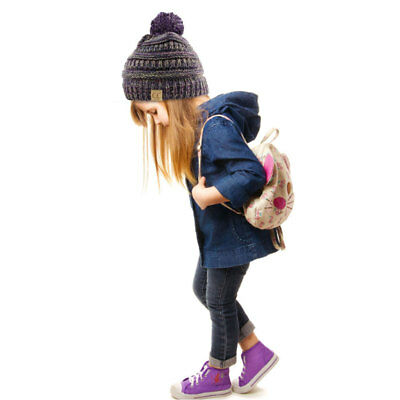 Kids Pom Pom CC Beanie Trendy Simple Winter Solid Cable Knit Hat