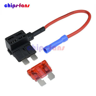 12V Car Add-a-circuit Fuse TAP Adapter Standard ATM APM Auto Blade Fuse Holder