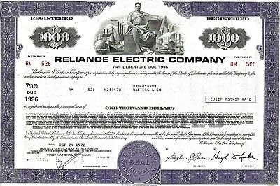 Reliance Electric Company, 1972,  7 1/4% Debenture due 1996 (1.000 $)