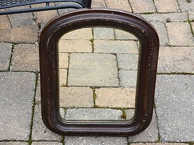 Antique American Empire Style Ogee Mirror in Dark Chocolate Stain and Arch Frame