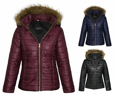 Womens Girls Shiny Matte Look Jacket Fur Hood Padded Quilted Puffa Winter Coat