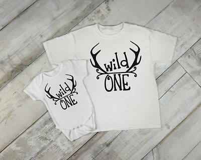 Wild One Year Old Deer Antlers Idea Boy  Toddler Clothes Romper Birthday 1st