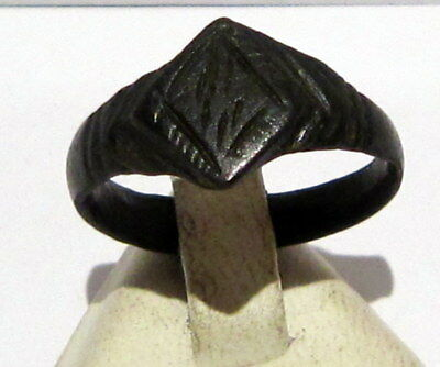 Beautiful Post-Medieval Bronze Ring With Engraving On The Top # 660