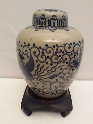 """Large Blue Oriental Designed Ceramic Ginger Jar with Lid w/ Stand 8"""" + Height"""