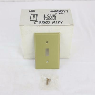 25 VTG Solid Brass Alloy 1 Gang Toggle Light Switch Wall Plate Covers Matte NOS