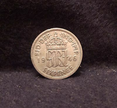 1946 Great Britain silver 6 pence, George VI, last of silver coinage, KM-852