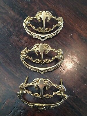3 polished ornate brass Drawer Pulls, vintage antique