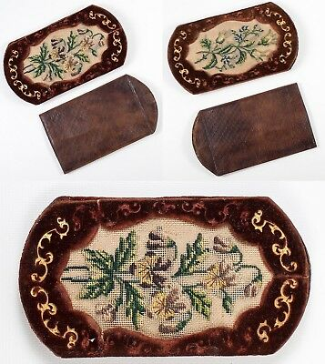 Antique French Embroidered Cigar Cheroot Case, Spectacles Etui, Gold Embossed