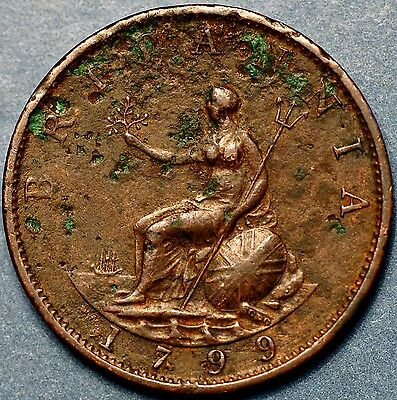 1799 Great Britain. 1/2 Half Penny  . George III .KM# 647