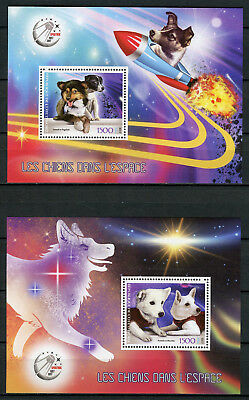 Ivory Coast 2017 MNH Dogs in Space 2x 1v S/S Pets Animals Stamps