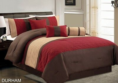 Chezmoi Collection 7-Piece Teal Grey Brown Pleated Quilting Comforter Set, Full