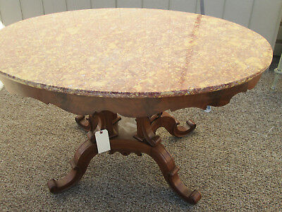 56965  Antique Victorian Walnut Pink Marble Top Lamp Table