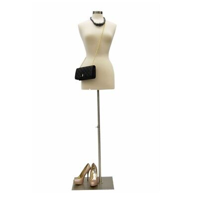 Size 6-8 Female Mannequin Dress Form+Metal Base #JF-FWP-W + BS-05