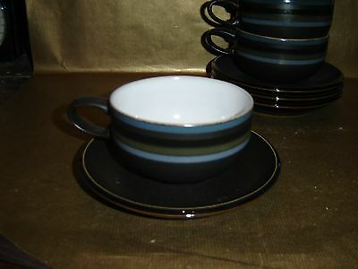 denby jet stripes large breakfast cup and saucer (several available)