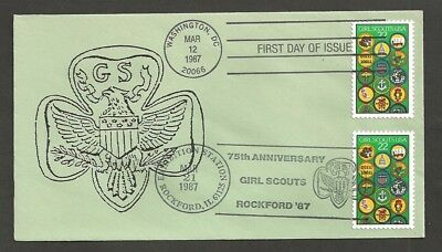 1987 Girl Scouts 75th anniversary # 2251 FDC dual Rockford