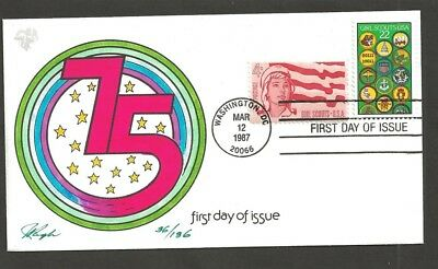1987 Girl Scouts 75th anniversary # 2251 FDC Pugh hand painted numbered