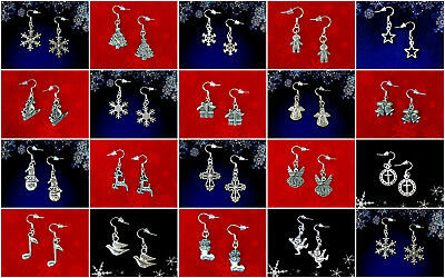 Buy 3 Get 1 Free~Christmas Dangle Earrings~925 Sterling Silver Hook~You Pick