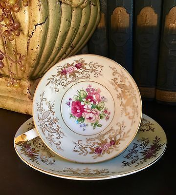 Del Mar Japan Hand Painted Cream Tea Cup And Saucer With Floral