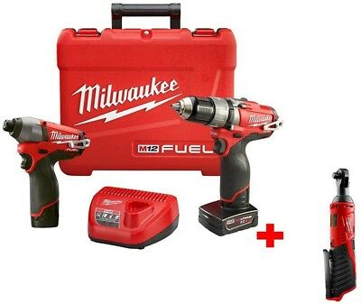 Cordless Hammer Drill Impact Combo Ratchet Brushless Lithium Ion Red 12 Volt
