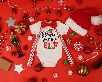 Blame It On The Elf Baby Shower Idea Boy Girl Toddler Clothes Romper Christmas