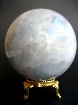 Angelite 7.7cm 514g Crystal Ball Orb Sphere on Gold Metal Stand AN003
