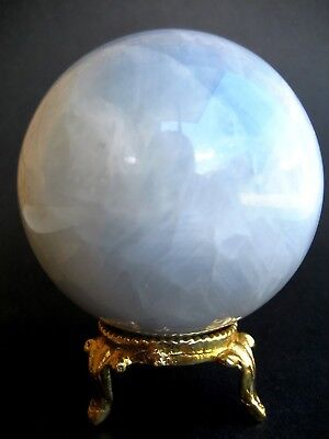 Angelite 6.8cm 351g Crystal Ball Orb Sphere on Gold Metal Stand AN004