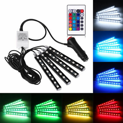 4Pcs 9 LED RGB Strip Colorful Remote Control Car Interior Floor Atmosphere Light