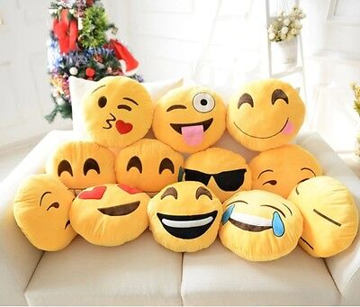 Adult Kids Round Plush Doll Toy Soft Cute Stuffed Emoticon Smiley Cushion Pillow