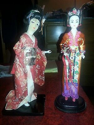 2 Vintage Chinese Oriental Asian Dolls With Stand