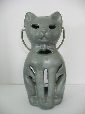 Cast Aluminum Cat Candle Holder 8x4 Vintage 1940s Silver Gray Handle Home Decor