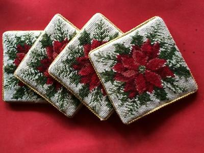"set of 4 Christmas holiday 4"" x 4"" needle point poinsettia coasters"