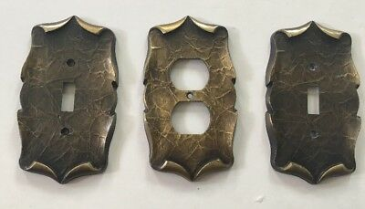 Lot Of 3 Vintage Amerock Decorative Metal Switch Receptacle Plate Covers Brass
