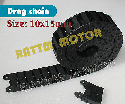 NEW 2PCS 10x15mm Plastic Cable Drag Chain Wire Carrier 1M 1000mm for CNC Router