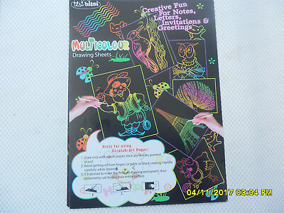 10 A4 Scratch Art Paper +Tool Artist Kids Magic Tricks Toys Educational Stencil