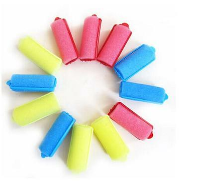 12Pcs/bag Magic Sponge Foam Cushion Hair Styling Rollers Curlers Twist Tool new.