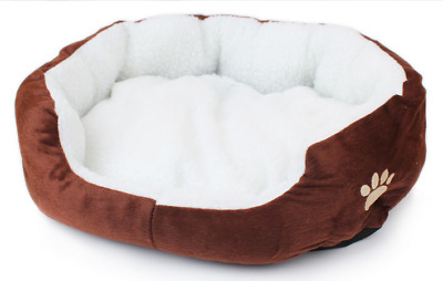 Pet Dog Puppy Nest Cozy Cat Soft Bed Fleece Kennel Plush Mat Coffee Warm House S