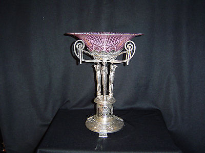 Victorian epergne silverplated with hand painted pink art glass bowl
