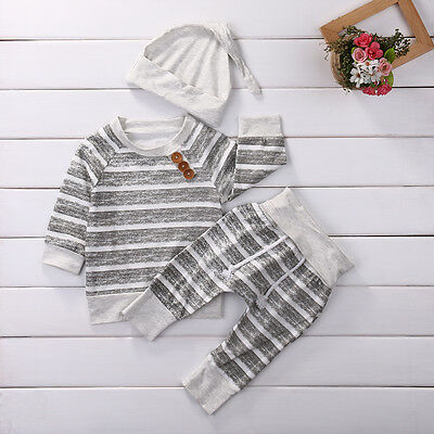 3Pcs/Set Baby Boy Girl Clothes Striped Tops T-shirt+Pants Leggings Outfits Set