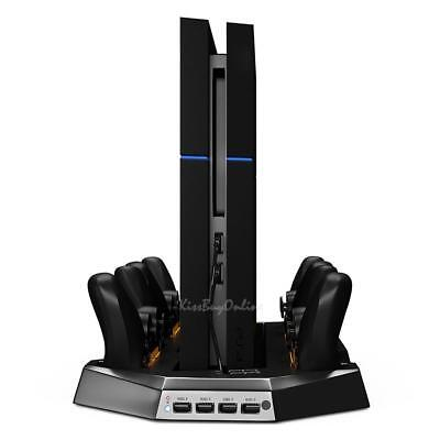 Vertical Charge Stand Dual Cooling Fans for Playstation PS4 Console Controller