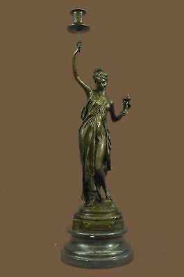 Bronze Sculpture Statue VINTAGE FRENCH GILT & CARVED MARBLE FIGURAL CANDLE MB