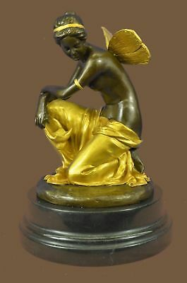 Bronze Sculpture Statue Mythical Fairy Handmade Marble Base Figure Figurine MB