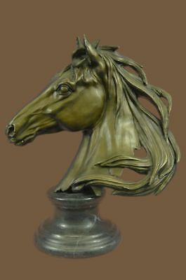 Bronze Sculpture Statue BEAUTIFUL PURE MOUNTED HORSE BUST DECO MARBLE BASE MB