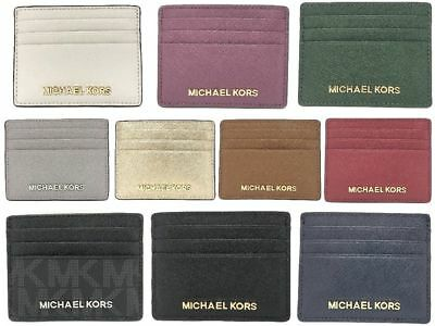 NWT Michael Kors Jet Set Travel Large Leather Credit Card Holder (Select Color)