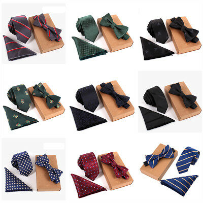 Mens Women Silk Wedding Ties Bow Tie and Handkerchief Gift Set Hanky Necktie