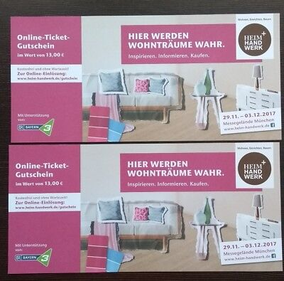 1 ticket heim handwerk und food life 2017 messe m nchen eintrittskarte eur 1 75. Black Bedroom Furniture Sets. Home Design Ideas