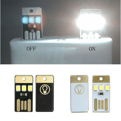 2X Outdoor Mini Wihte Bright LED Night Light USB Lamp for PC Laptop Power Bank