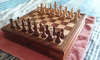 Chess Set by Dal Rossi Italy Wooden 16 Inch with Drawers