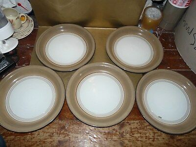 "denby seville set of 5x dinner plates 10.75"" diameter"