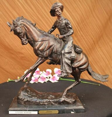 Bronze OLD WEST COWBOY WITH HORSE WESTERN REMINGTON FIGURINE DECOR Sculpture MB