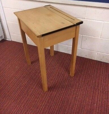 Traditional wooden school desk with lift up lid